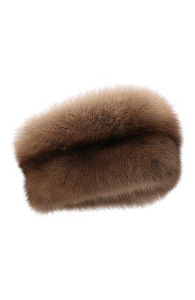 Женская шапка из меха норки и соболя KUSSENKOVV бежевого цвета, арт. 061913694455   Фото 1 (Материал: Натуральный мех)
