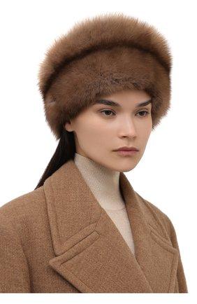 Женская шапка из меха норки и соболя KUSSENKOVV бежевого цвета, арт. 061913694455   Фото 2 (Материал: Натуральный мех)