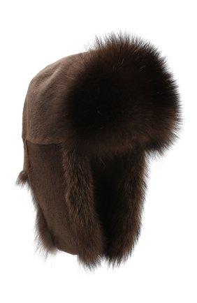 Женская шапка-ушанка из меха норки и фишера KUSSENKOVV коричневого цвета, арт. 090516903097 | Фото 1