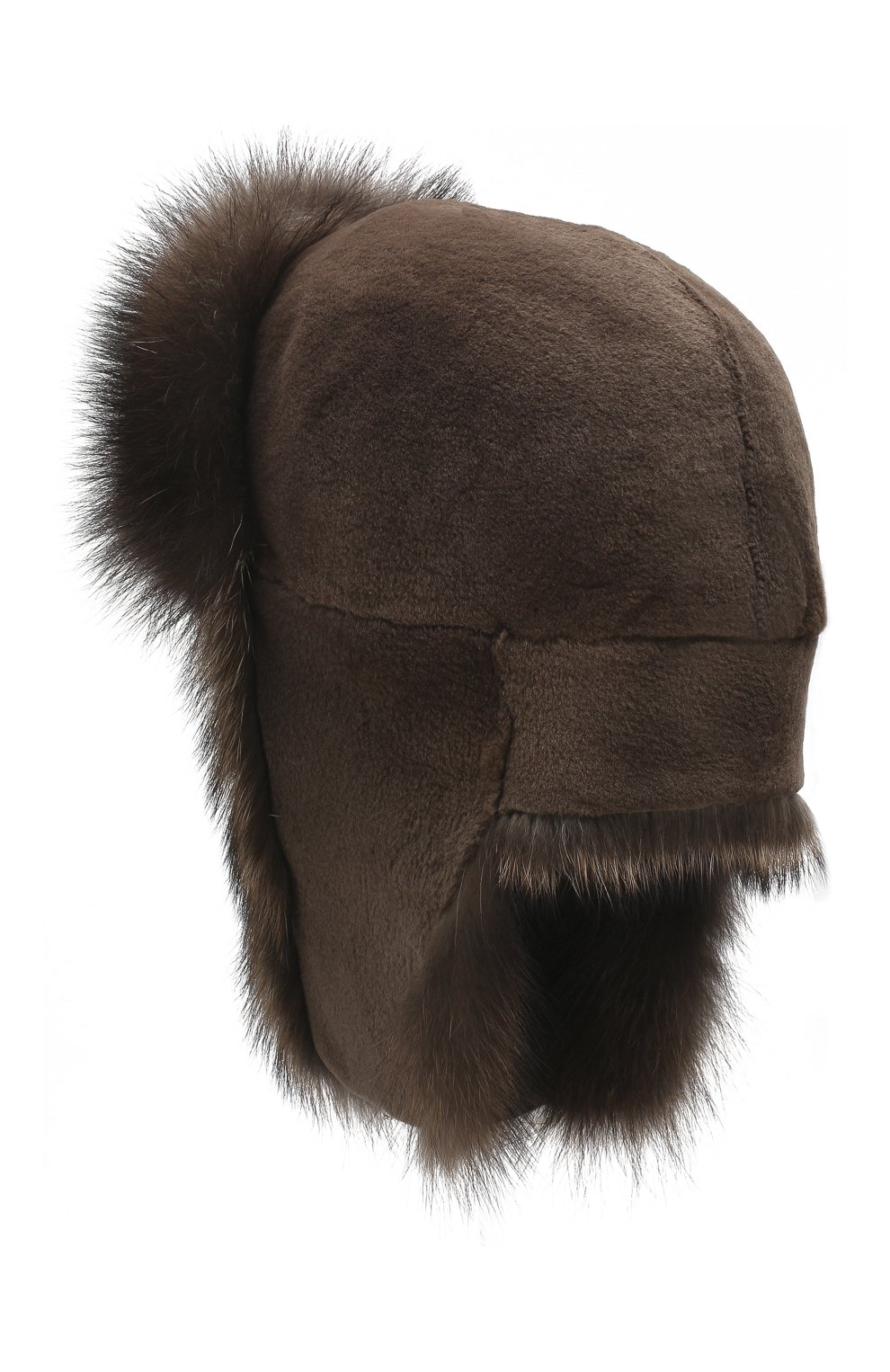 Женская шапка-ушанка из меха норки и фишера KUSSENKOVV коричневого цвета, арт. 090516903097 | Фото 2