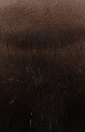 Женская шапка-ушанка из меха норки и фишера KUSSENKOVV коричневого цвета, арт. 090516903097 | Фото 3