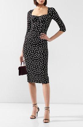 Женское платье в горох DOLCE & GABBANA черно-белого цвета, арт. F6C1ET/FSGR2 | Фото 2