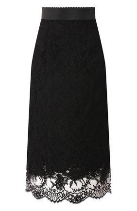 Женская кружевная юбка DOLCE & GABBANA черного цвета, арт. F4AY6T/HLMQJ | Фото 1