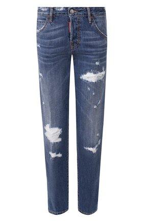 Женские джинсы с потертостями DSQUARED2 темно-синего цвета, арт. S75LB0319/S30309 | Фото 1