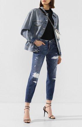 Женские джинсы с потертостями DSQUARED2 темно-синего цвета, арт. S75LB0319/S30309 | Фото 2