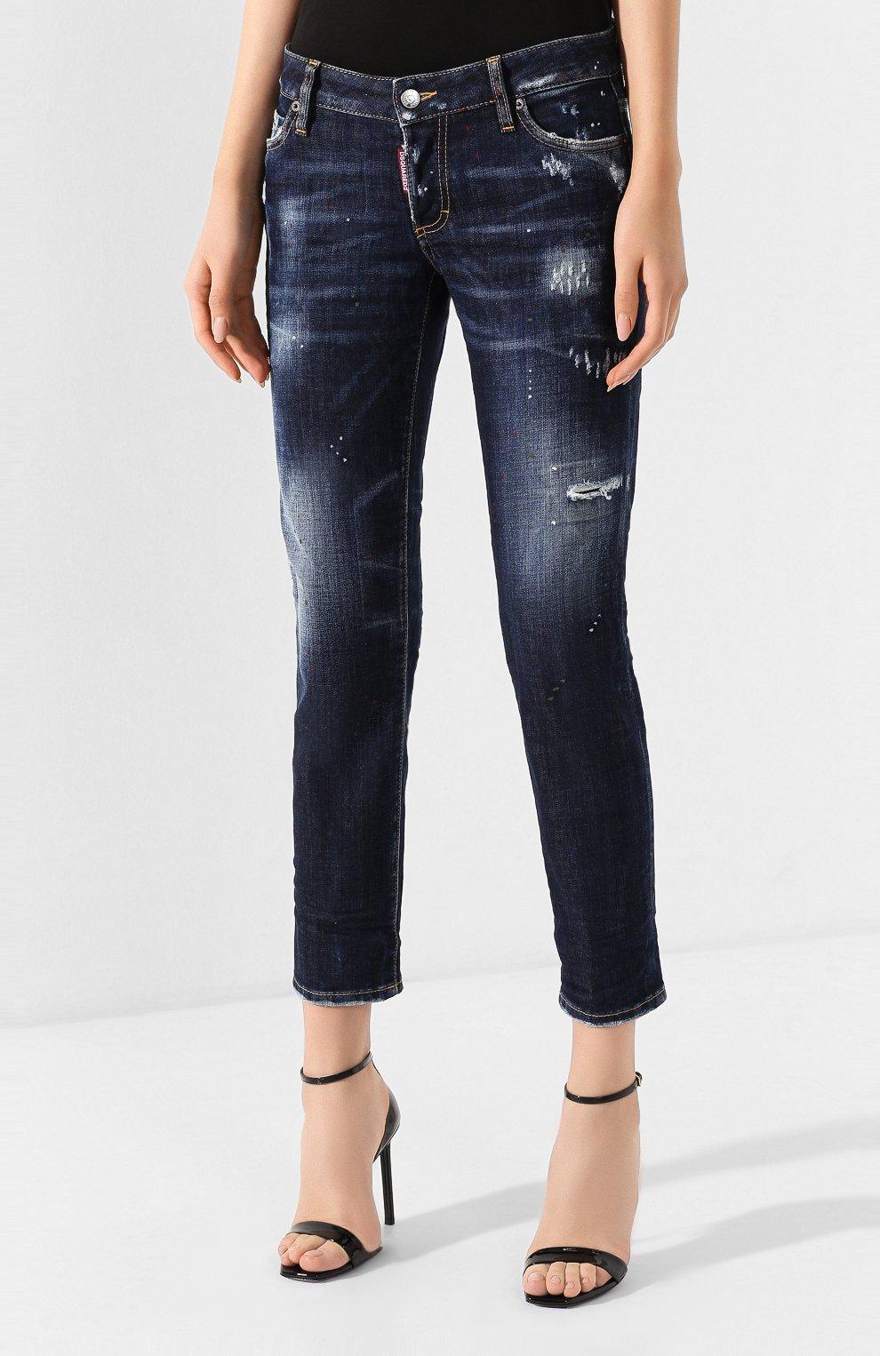 Женские джинсы DSQUARED2 темно-синего цвета, арт. S75LB0268/S30664   Фото 3