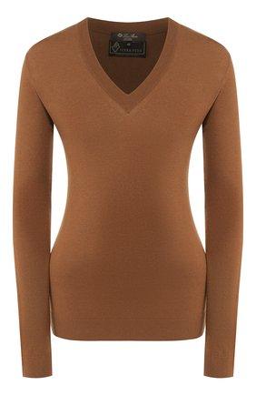 Женский шерстяной пуловер LORO PIANA коричневого цвета, арт. FAI8067/VVIC   Фото 1