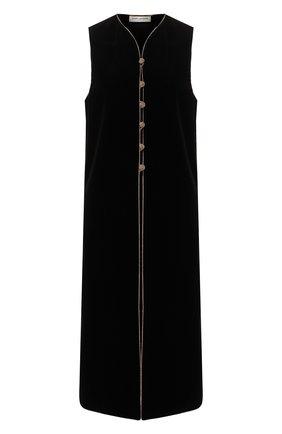 Женский хлопковый жилет SAINT LAURENT черного цвета, арт. 600747/Y615W | Фото 1