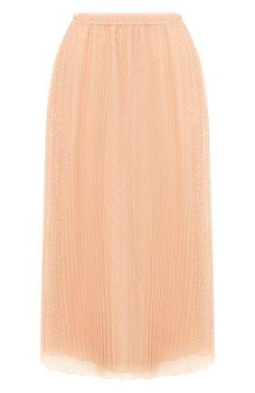 Женская юбка REDVALENTINO розового цвета, арт. TR3RAC20/428   Фото 1 (Материал подклада: Синтетический материал; Материал внешний: Синтетический материал; Длина Ж (юбки, платья, шорты): Миди; Статус проверки: Проверена категория)