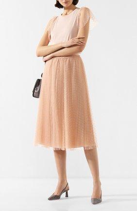 Женская юбка REDVALENTINO розового цвета, арт. TR3RAC20/428   Фото 2 (Материал подклада: Синтетический материал; Материал внешний: Синтетический материал; Длина Ж (юбки, платья, шорты): Миди; Статус проверки: Проверена категория)