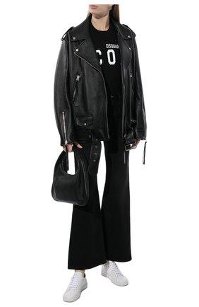 Женская хлопковая футболка DSQUARED2 черного цвета, арт. S80GC0001/S23009 | Фото 2