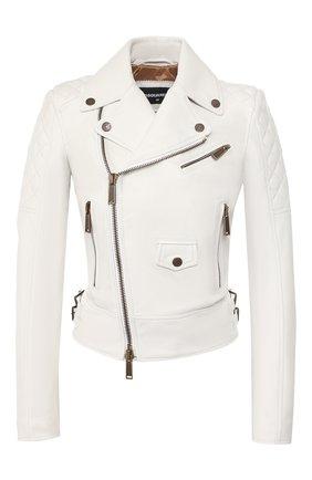 Женская кожаная куртка DSQUARED2 белого цвета, арт. S75AM0748/SY1442 | Фото 1