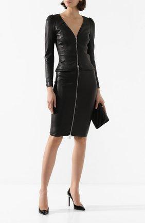 Женский кожаный жакет JITROIS черного цвета, арт. BL0US0N ZELDA AGNEAU STRETCH | Фото 2