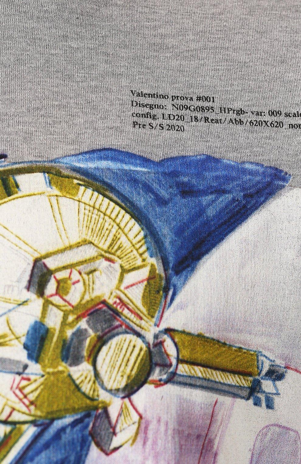 Мужской хлопковый свитшот VALENTINO серого цвета, арт. TV3MF09T60G | Фото 5