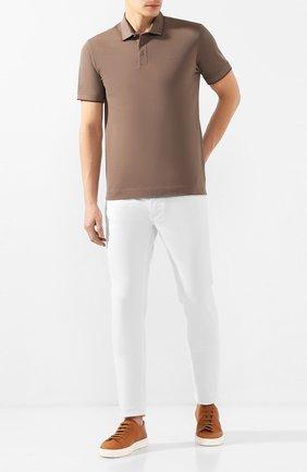 Мужские кожаные кеды SANTONI светло-коричневого цвета, арт. MBCN21332BARCT0VM40 | Фото 2