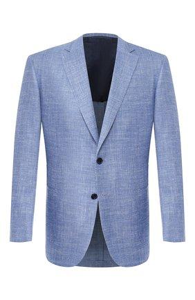 Мужской пиджак из смеси шерсти и шелка BRIONI голубого цвета, арт. RG0J0Q/P9A65/BRUNIC0 | Фото 1 (Длина (для топов): Стандартные; Материал подклада: Купро; Рукава: Длинные; Материал внешний: Шерсть; 1-2-бортные: Однобортные; Пиджаки М: Прямой; Случай: Формальный; Стили: Классический)