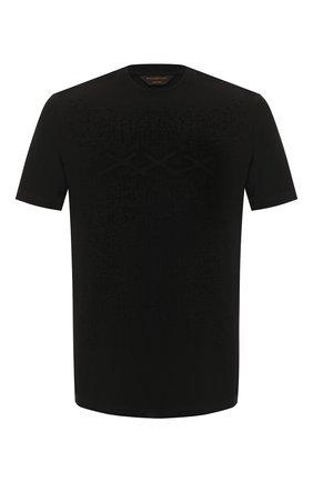 Мужская хлопковая футболка ZEGNA COUTURE черного цвета, арт. CUCJ04/7UJ02 | Фото 1