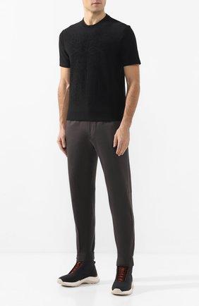 Мужская хлопковая футболка ZEGNA COUTURE черного цвета, арт. CUCJ04/7UJ02 | Фото 2