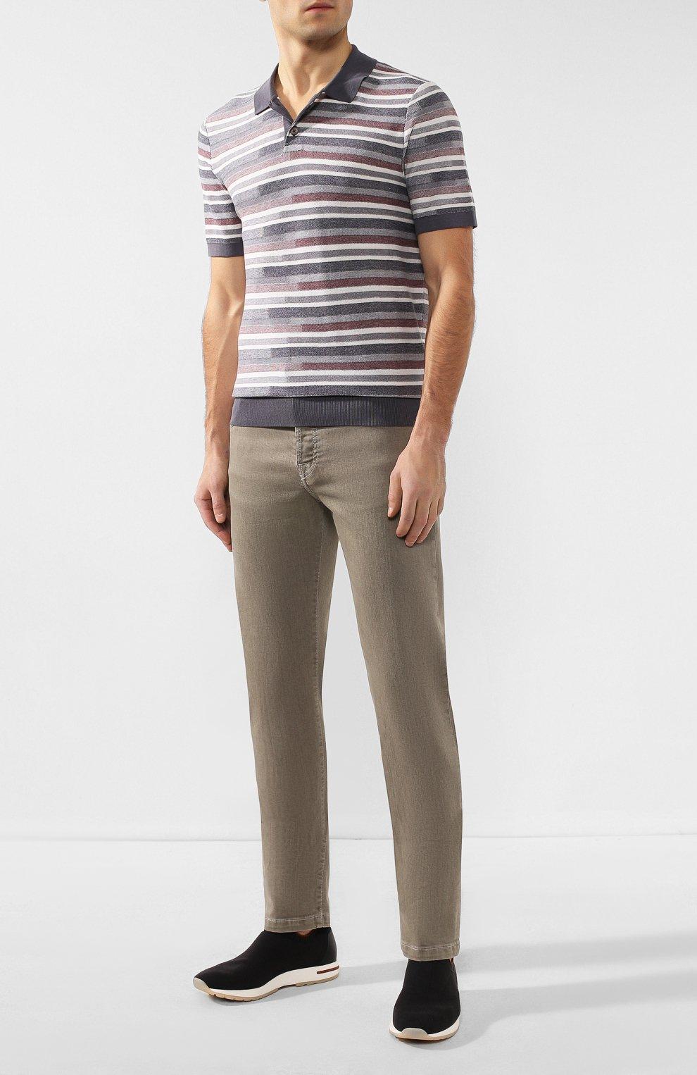 Мужское поло из смеси шелка и хлопка Z ZEGNA серого цвета, арт. VUD10/ZZ135 | Фото 2