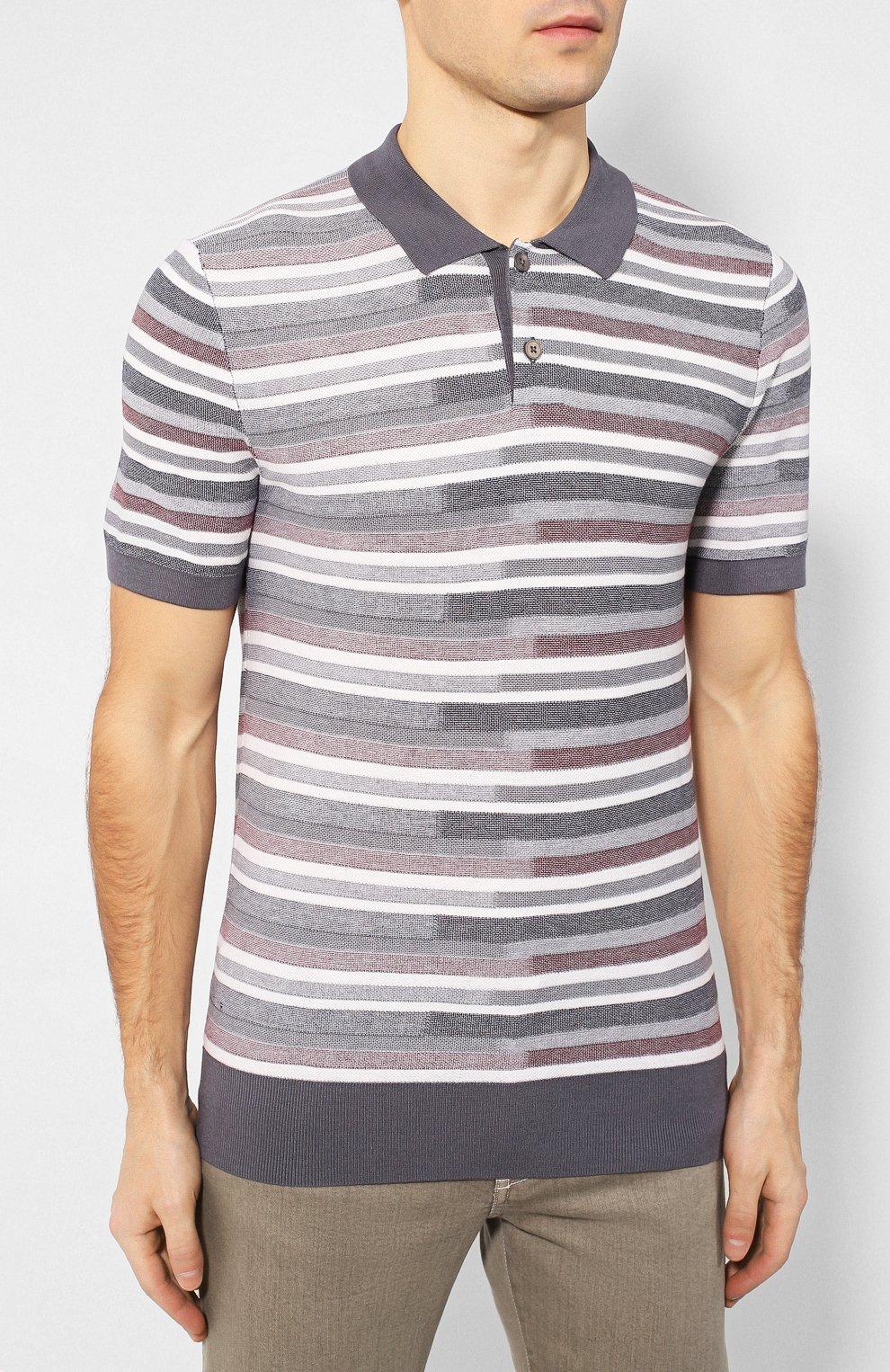 Мужское поло из смеси шелка и хлопка Z ZEGNA серого цвета, арт. VUD10/ZZ135 | Фото 3