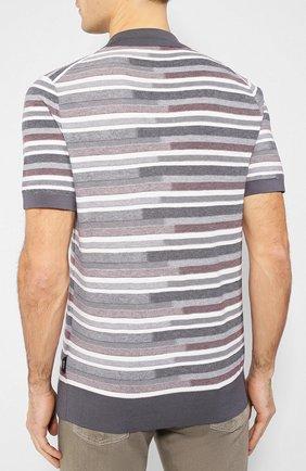 Мужское поло из смеси шелка и хлопка Z ZEGNA серого цвета, арт. VUD10/ZZ135 | Фото 4