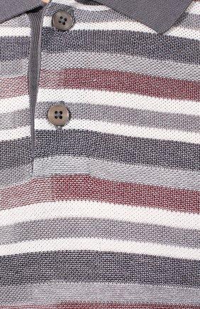 Мужское поло из смеси шелка и хлопка Z ZEGNA серого цвета, арт. VUD10/ZZ135 | Фото 5