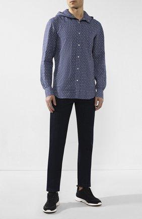 Мужская льняная рубашка KITON голубого цвета, арт. UMCMARH0721507   Фото 2