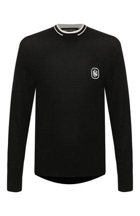 Мужской джемпер из смеси шерсти и шелка NEIL BARRETT черного цвета, арт. PBMA1065V/N611 | Фото 1