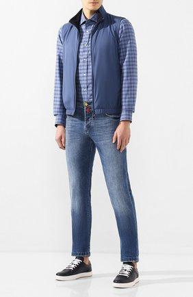 Мужская хлопковая рубашка RALPH LAUREN синего цвета, арт. 790780995 | Фото 2