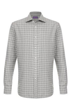 Мужская хлопковая рубашка RALPH LAUREN серого цвета, арт. 790780995 | Фото 1 (Рукава: Длинные; Длина (для топов): Стандартные; Материал внешний: Хлопок; Мужское Кросс-КТ: Рубашка-одежда; Принт: Клетка; Случай: Повседневный; Манжеты: На пуговицах; Воротник: Акула)