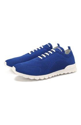 Мужские текстильные кроссовки KITON синего цвета, арт. USSFITSN00609 | Фото 1 (Материал внешний: Текстиль; Материал внутренний: Натуральная кожа; Подошва: Плоская)