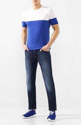 Мужские текстильные кроссовки KITON синего цвета, арт. USSFITSN00609 | Фото 2 (Материал внешний: Текстиль; Материал внутренний: Натуральная кожа; Подошва: Плоская)