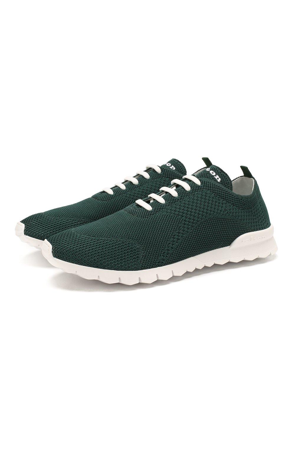 Мужские текстильные кроссовки KITON зеленого цвета, арт. USSFITSN00609   Фото 1