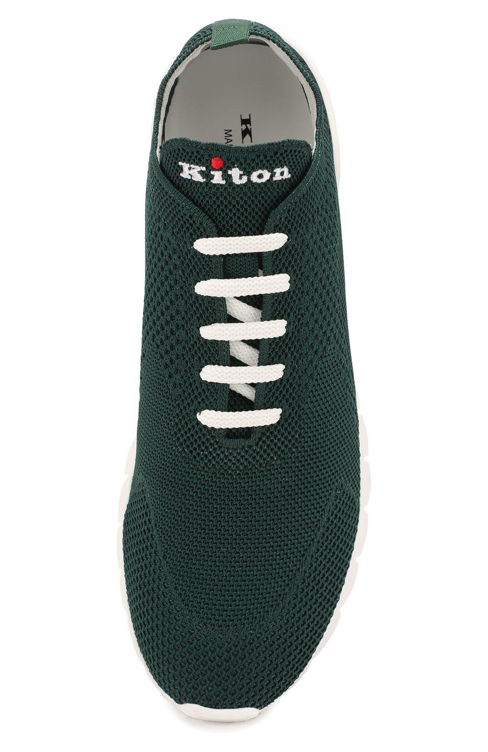 Мужские текстильные кроссовки KITON зеленого цвета, арт. USSFITSN00609   Фото 5