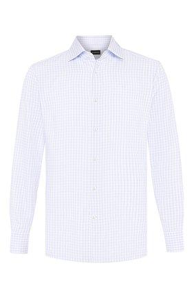 Мужская хлопковая сорочка ERMENEGILDO ZEGNA светло-голубого цвета, арт. 701554/9MS0BA | Фото 1