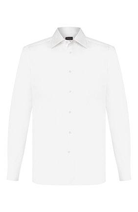 Мужская хлопковая сорочка ERMENEGILDO ZEGNA белого цвета, арт. 704001/9MS0PA | Фото 1