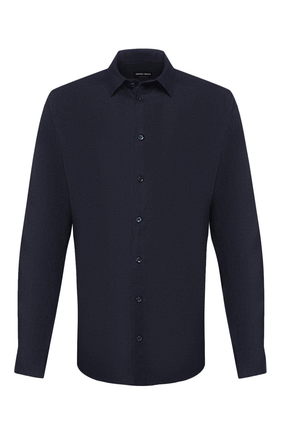Мужская льняная рубашка GIORGIO ARMANI синего цвета, арт. 8WGCCZ97/TZ256   Фото 1