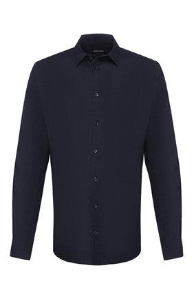 Мужская льняная рубашка GIORGIO ARMANI синего цвета, арт. 8WGCCZ97/TZ256 | Фото 1