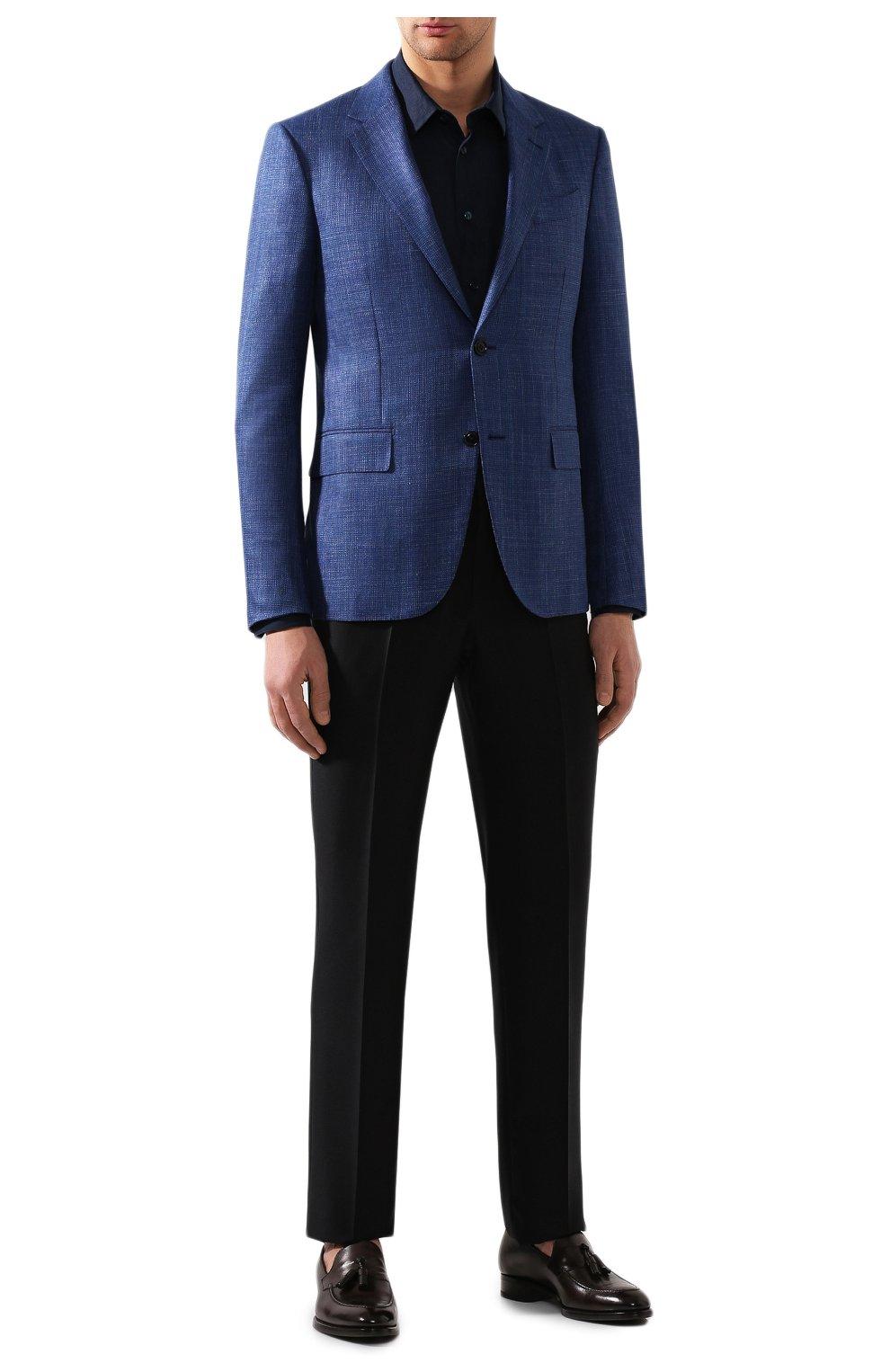 Мужская льняная рубашка GIORGIO ARMANI синего цвета, арт. 8WGCCZ97/TZ256   Фото 2