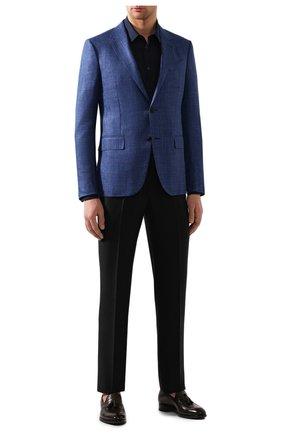 Мужская льняная рубашка GIORGIO ARMANI синего цвета, арт. 8WGCCZ97/TZ256 | Фото 2