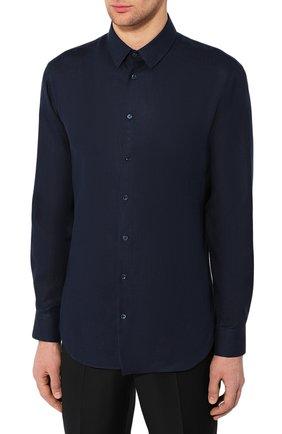Мужская льняная рубашка GIORGIO ARMANI синего цвета, арт. 8WGCCZ97/TZ256   Фото 3