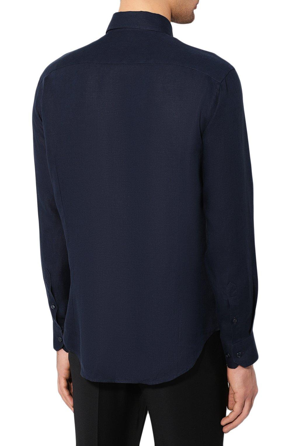 Мужская льняная рубашка GIORGIO ARMANI синего цвета, арт. 8WGCCZ97/TZ256   Фото 4
