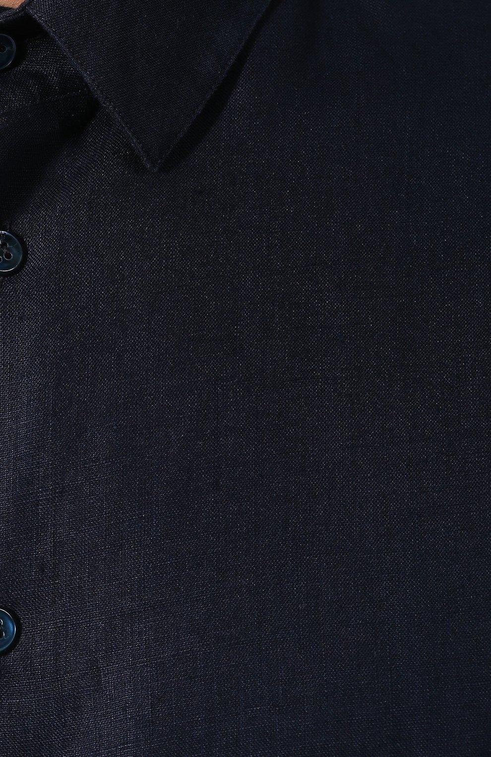 Мужская льняная рубашка GIORGIO ARMANI синего цвета, арт. 8WGCCZ97/TZ256   Фото 5