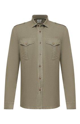 Мужская рубашка из льна и хлопка BRUNELLO CUCINELLI хаки цвета, арт. MD6983058 | Фото 1