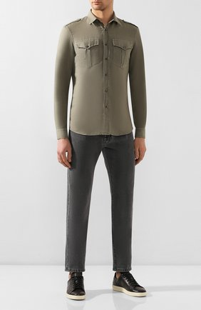 Мужская рубашка из льна и хлопка BRUNELLO CUCINELLI хаки цвета, арт. MD6983058 | Фото 2