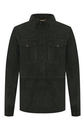 Мужская замшевая рубашка RALPH LAUREN темно-зеленого цвета, арт. 790654923   Фото 1