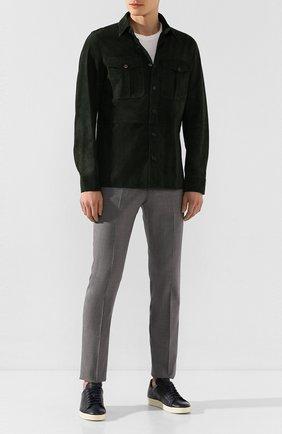 Мужская замшевая рубашка RALPH LAUREN темно-зеленого цвета, арт. 790654923   Фото 2