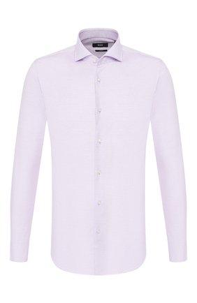 Мужская хлопковая сорочка BOSS сиреневого цвета, арт. 50422190 | Фото 1