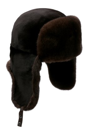 Мужская шапка-ушанка из меха норки KUSSENKOVV темно-коричневого цвета, арт. 330210204158 | Фото 1