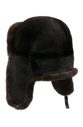 Мужская шапка-ушанка из меха норки KUSSENKOVV темно-коричневого цвета, арт. 330210204158 | Фото 2